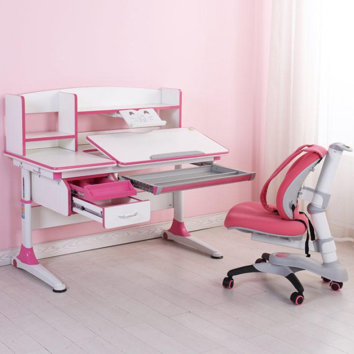 bộ bàn học chống gù chống cận màu hồng