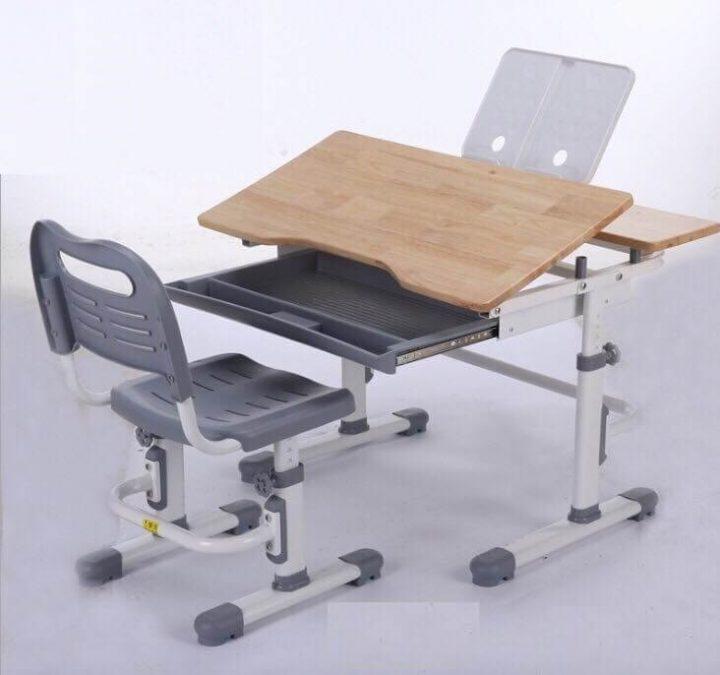 bàn ghế học thông minh D4 xám