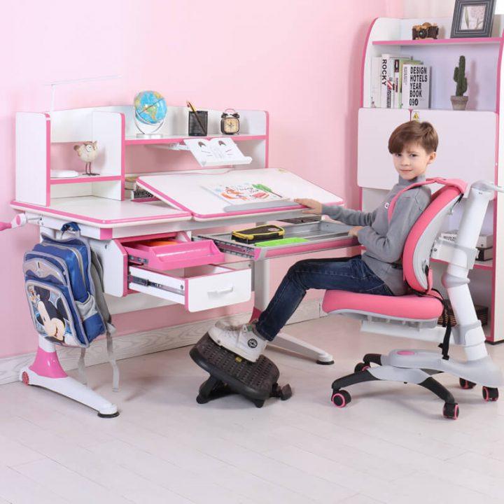 bàn ghế học thông minh màu hồng