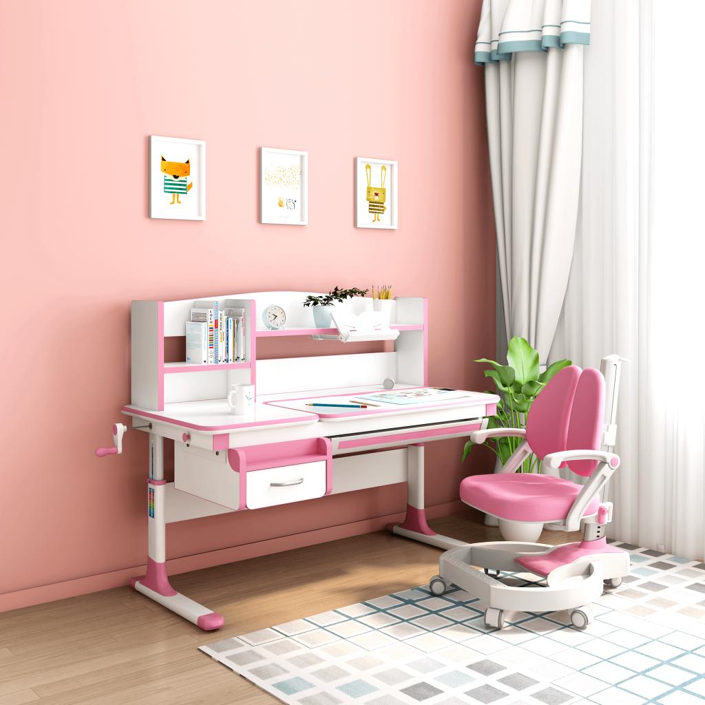 bàn ghế học sinh thông minh IK KIDS lex 607/w2 màu hồng bé gái chống gù
